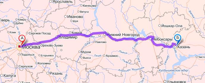 Казань сколько ехать от москвы на машине